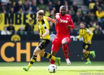 Erik Durm and Anthony Modeste during the Bundesliga match between Borussia Dortmund and Koln on 29th April 2017