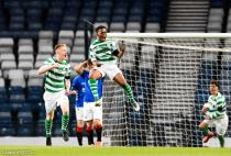 Celticís Karamoko Dembele celebrates with team mates after Paul Kennedy (not in picture) scores his side's second goal of the game during the Scottish FA Youth Cup final at Hampden Park, Glasgow.