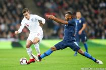 England's Harry Winks (left) and USA's Julian Green battle for the ball during the International Friendly match between England and USA at Wembley Stadium, London on November 15th, 2018.