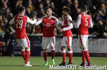 Arsenal's Lucas Perez (second left) celebrates scoring his sides opening goal during the Emirates FA Cup, Fifth Round match at Gander Green Lane, London.Sutton United v Arsenal - Emirates FA Cup - Fifth Round - Gander Green Lane20 February 2017